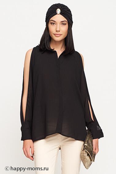 Черная блузка из шифона доставка