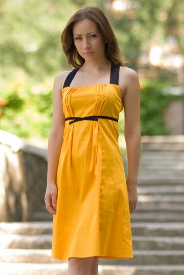 Желтый сарафан для беременных 765