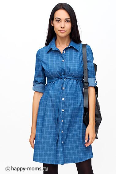 78eb5c388d07 Джинсовое платье-рубашка для беременных интернет магазин Happy-Moms.ru