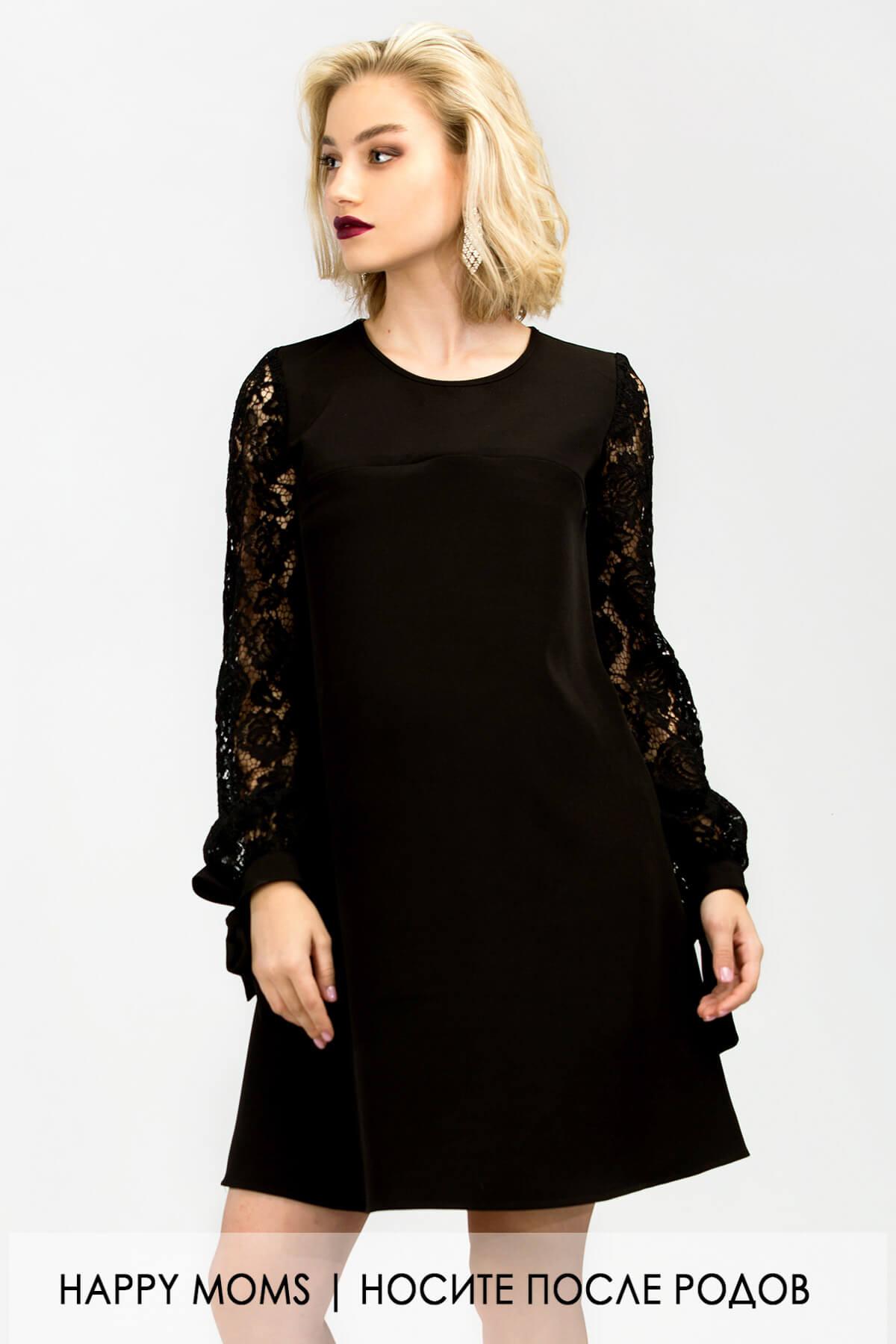 a7103350a360 Черное платье с кружевом для беременных и кормящих Happy Moms